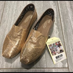 Toms rose gold glitter shoes